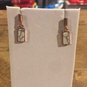 Rose Gold and Marble Stud Earrings